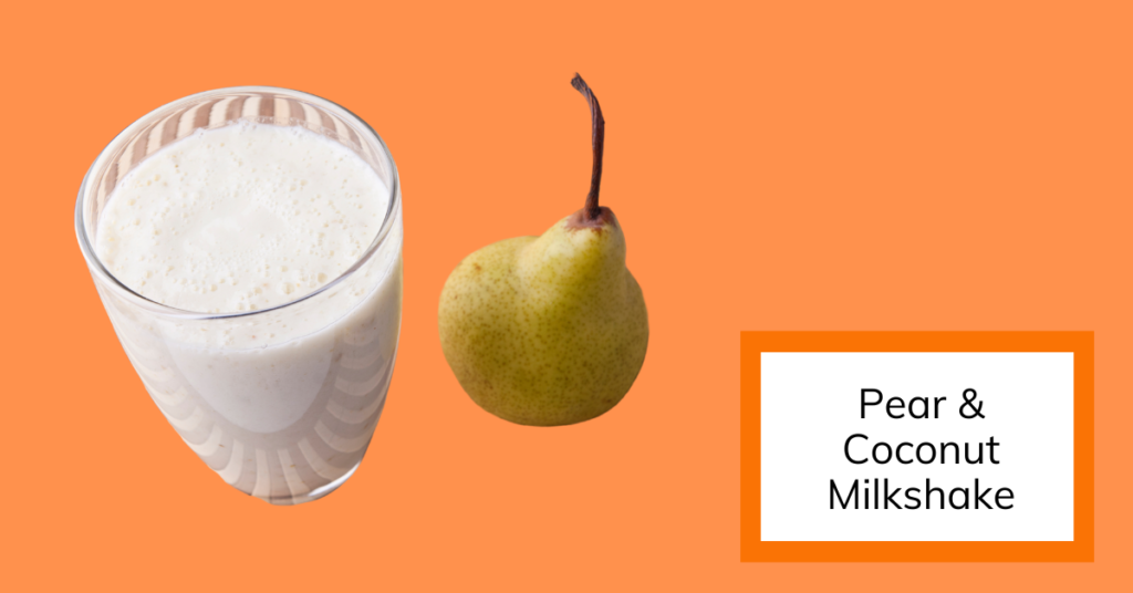 cover image for recipe of pear and coconut milkshake