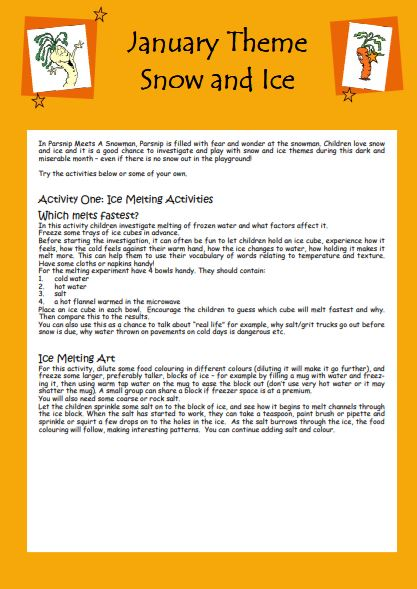 Worksheet for Activities About Snow and Ice