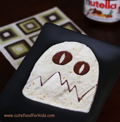 image of a ghost nutella wrap from cute food for kids