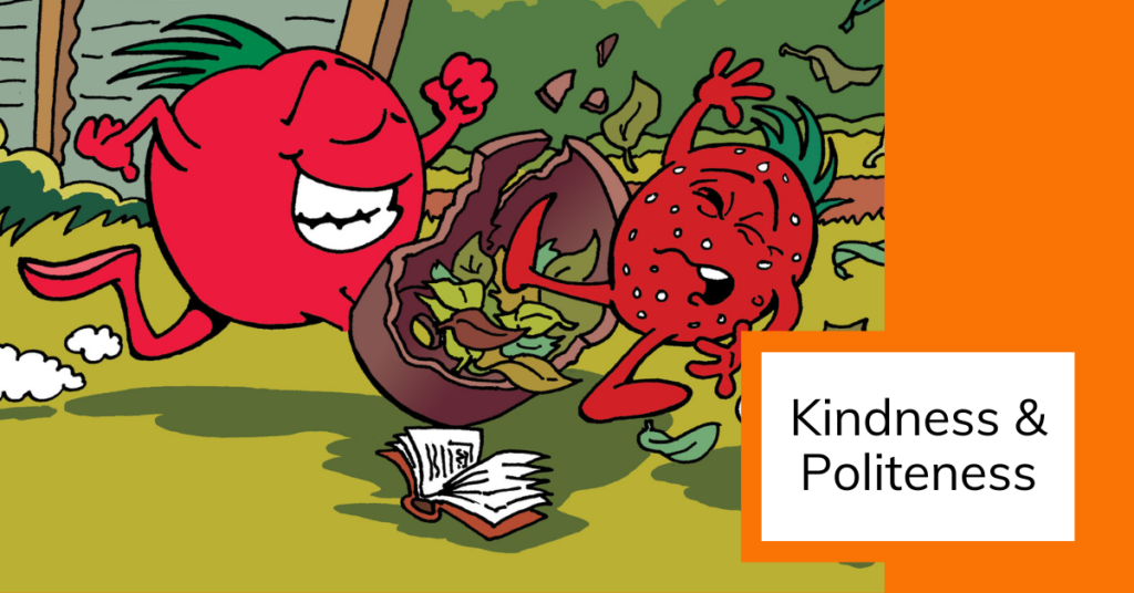 cover image of A cartoon tomato is crashing into a strawberry and upsetting them