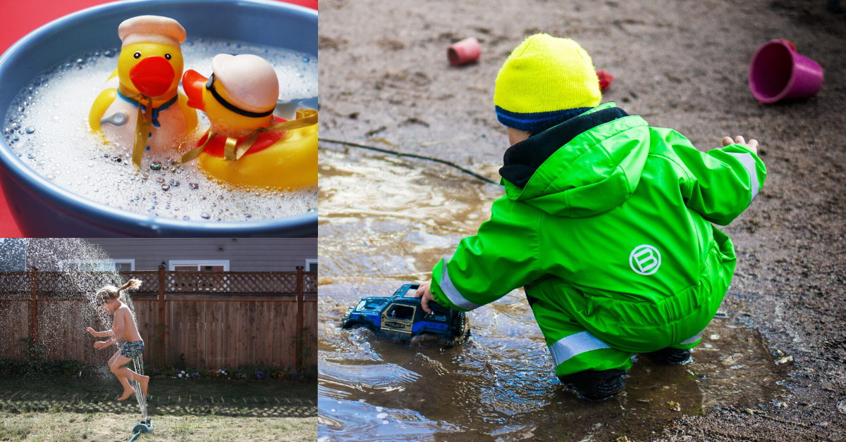 collage water images - rubber ducks in a bath, a child in a sprinkler and a child playing in a puddle