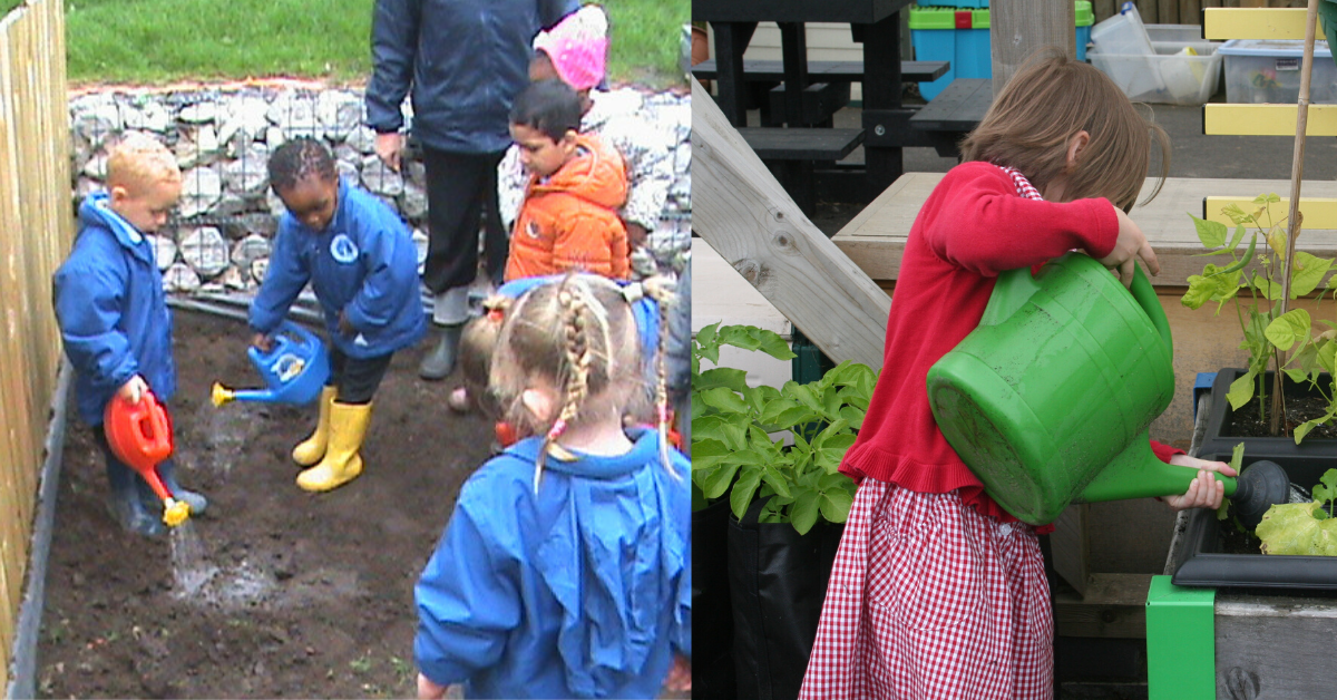 two images of children watering plants