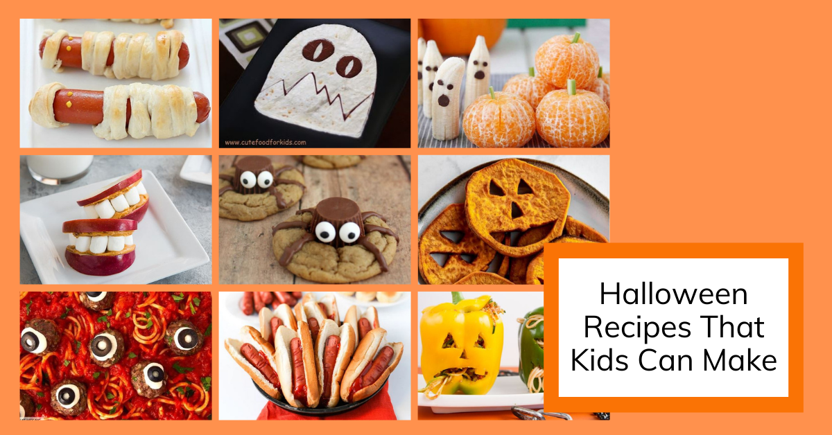 cover image for a round up of 9 recipes for halloween that kids can make