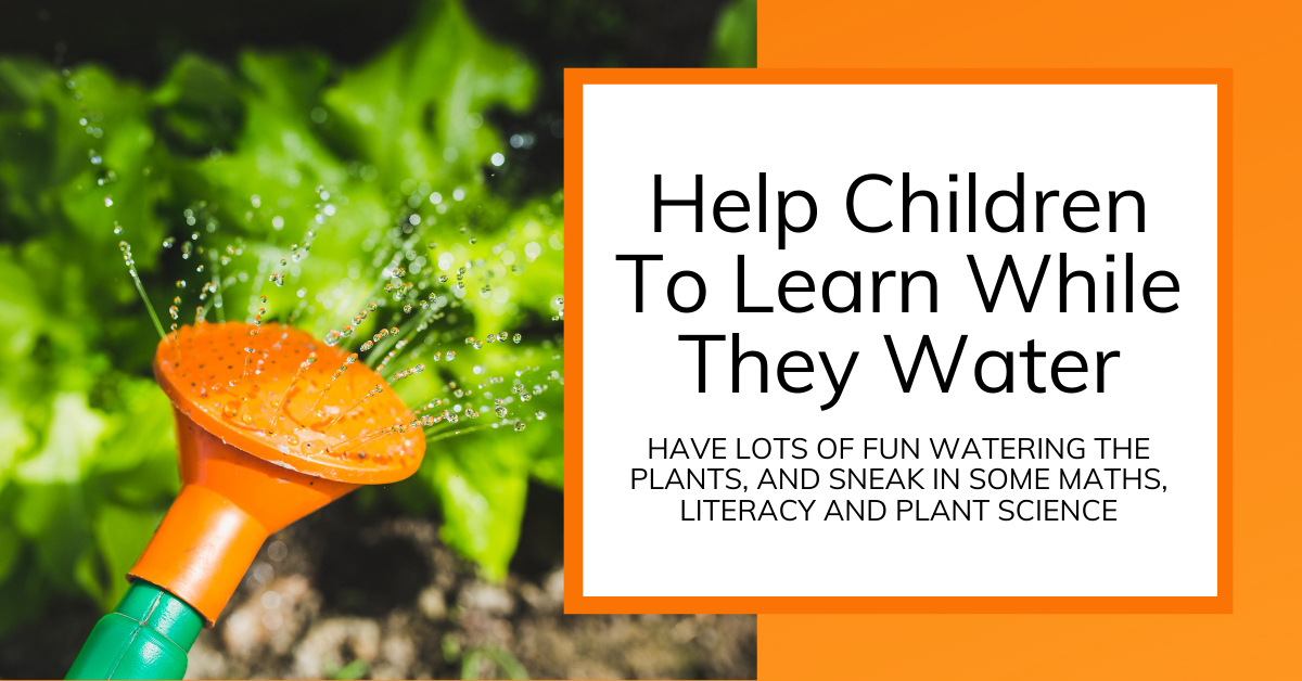 Title Image for article about plant watering with children