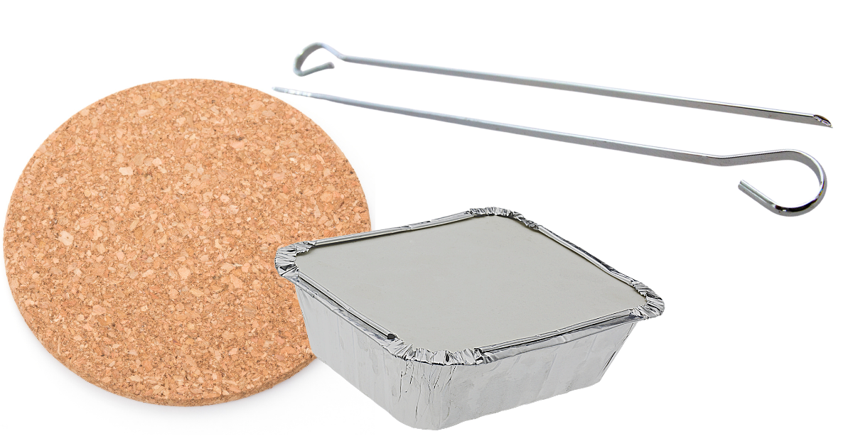 image of a cork board, foil takeaway container and two skewers for making a planting pot