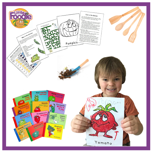 collage showing products in Little Foodies Club and smiling child