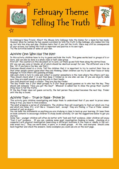 Worksheet for Telling The Truth Activities
