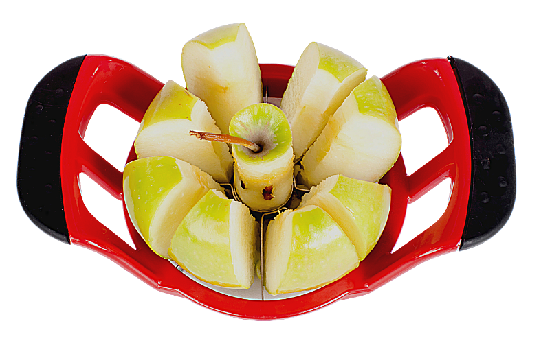 apple corer and slicer with an apple in the middle having been sliced already