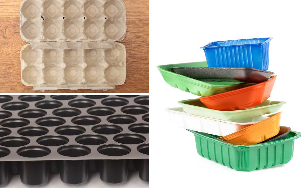 split image of different trays and boxes to chit potatoes in, egg boxes, module trays and recycled food trays