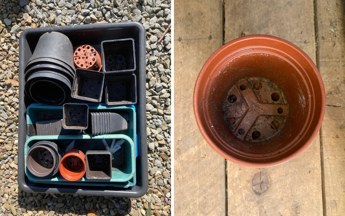 two images of dirty plant pots, a big box of pots and a single pot showing the leftover soil inside
