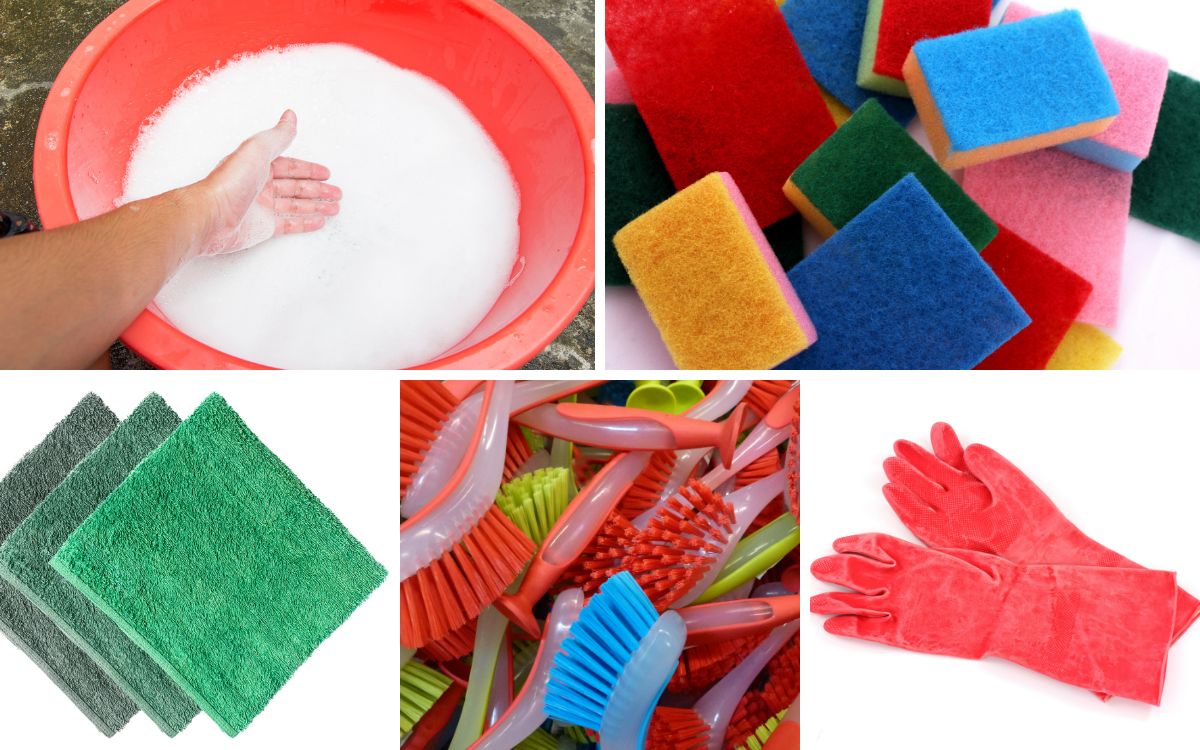 grid of images of washing up equipment, a bowl, gloves, sponges and brushes